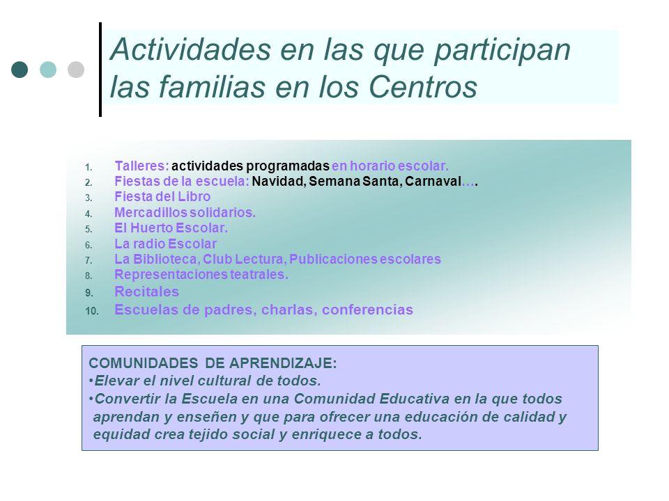Actividades en las que participan las familias en los Centros