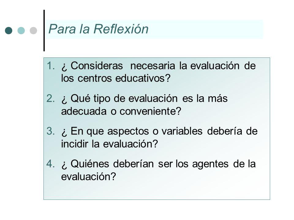 Para la Reflexión ¿ Consideras necesaria la evaluación de los centros educativos ¿ Qué tipo de evaluación es la más adecuada o conveniente