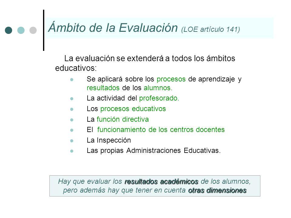 Ámbito de la Evaluación (LOE artículo 141)