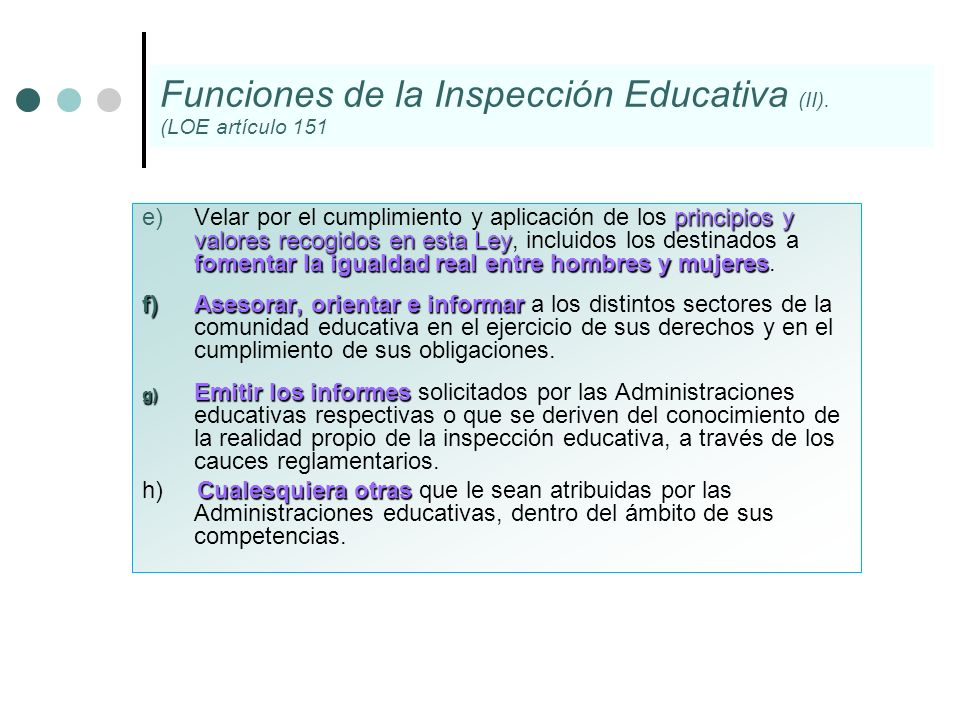 Funciones de la Inspección Educativa (II).