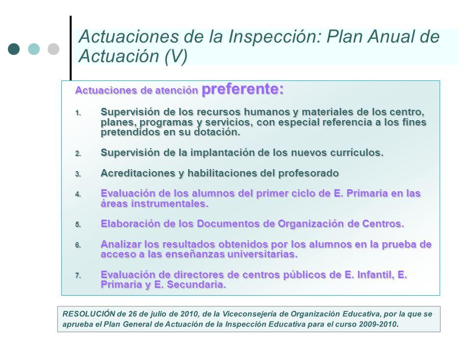 Actuaciones de la Inspección: Plan Anual de Actuación (V)