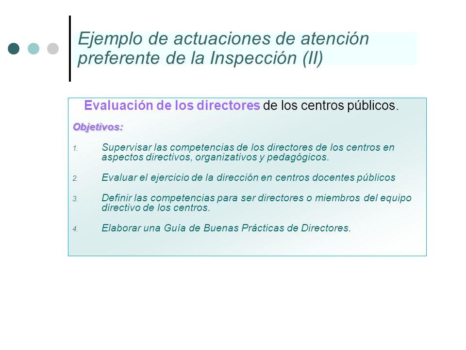 Ejemplo de actuaciones de atención preferente de la Inspección (II)
