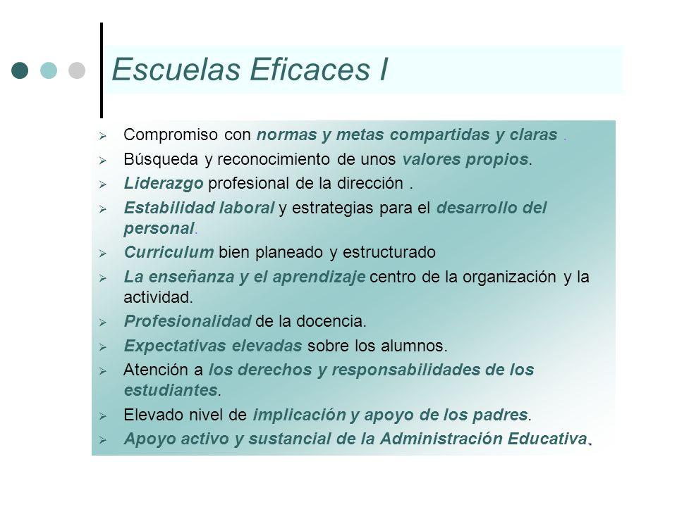 Escuelas Eficaces ICompromiso con normas y metas compartidas y claras . Búsqueda y reconocimiento de unos valores propios.
