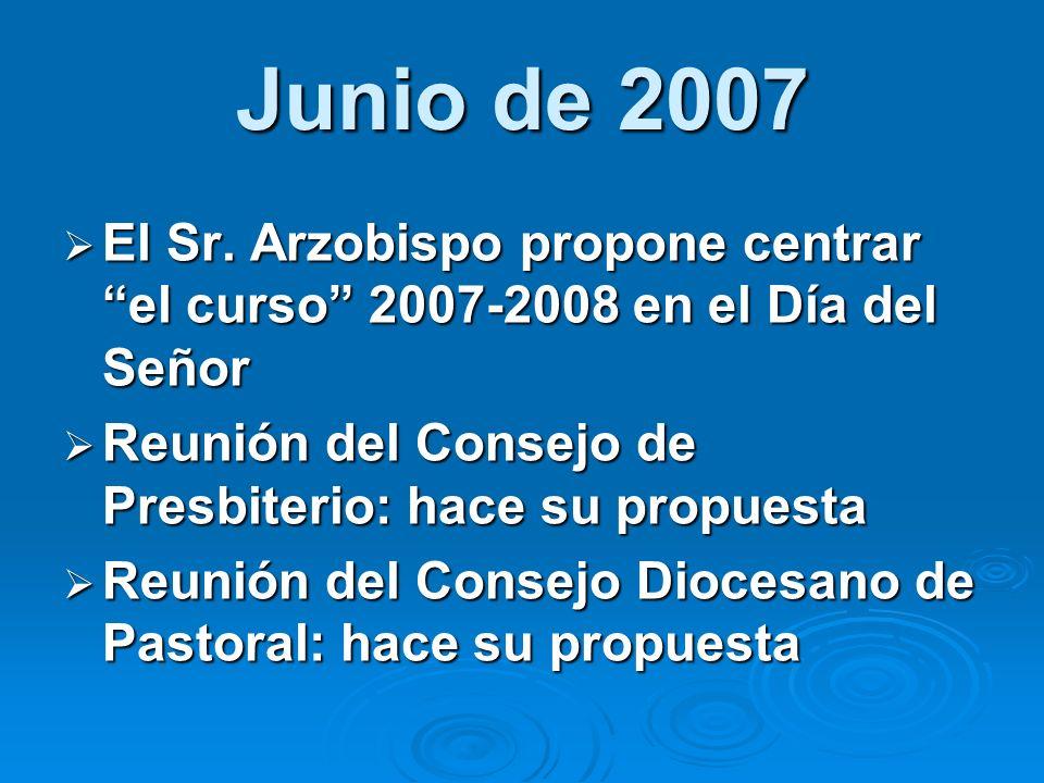 Junio de 2007El Sr. Arzobispo propone centrar el curso 2007-2008 en el Día del Señor. Reunión del Consejo de Presbiterio: hace su propuesta.