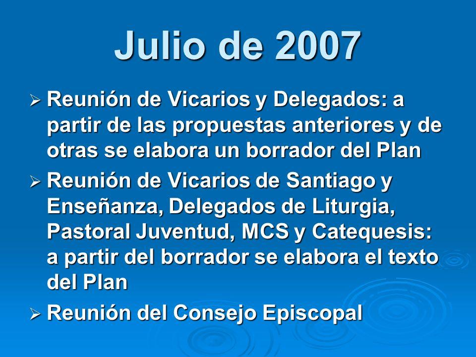 Julio de 2007 Reunión de Vicarios y Delegados: a partir de las propuestas anteriores y de otras se elabora un borrador del Plan.