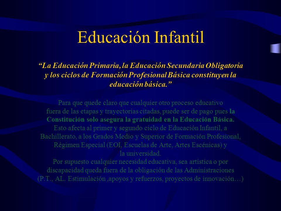 Educación Infantil La Educación Primaria, la Educación Secundaria Obligatoria. y los ciclos de Formación Profesional Básica constituyen la.