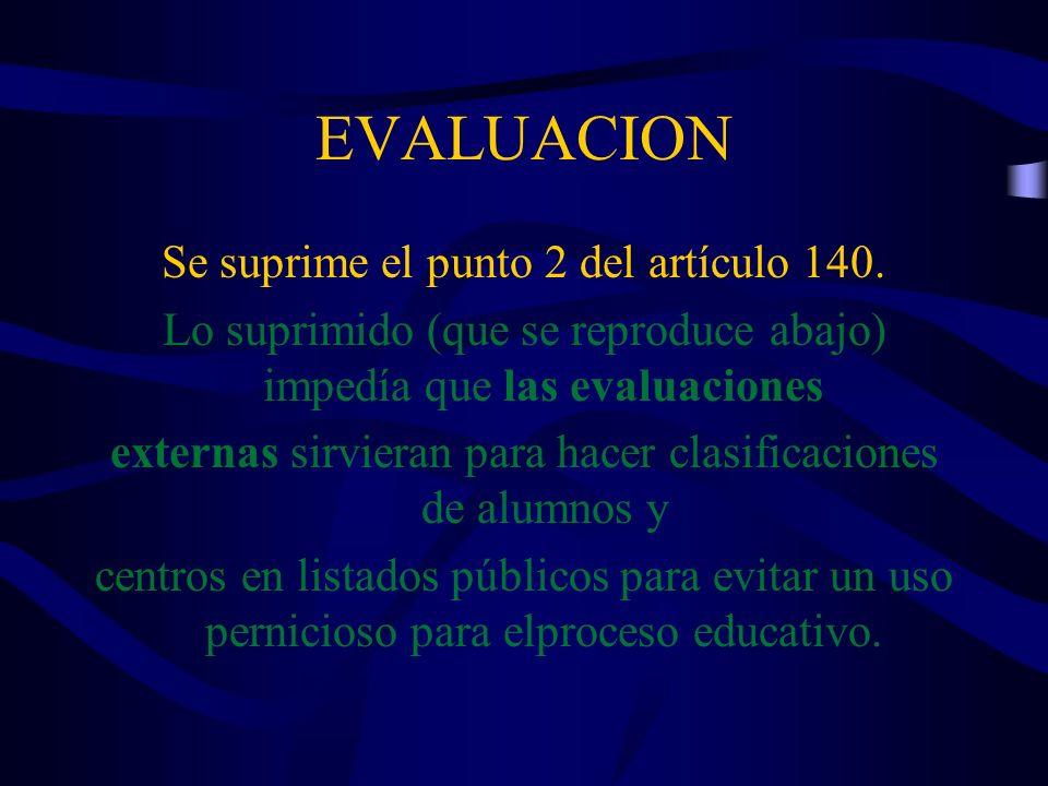 EVALUACION Se suprime el punto 2 del artículo 140.
