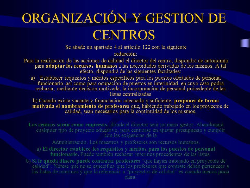 ORGANIZACIÓN Y GESTION DE CENTROS