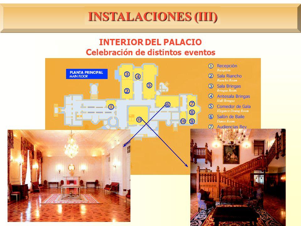 INTERIOR DEL PALACIO Celebración de distintos eventos