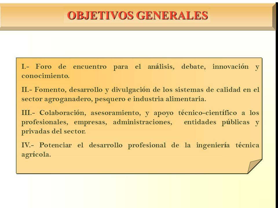 OBJETIVOS GENERALES I.- Foro de encuentro para el análisis, debate, innovación y conocimiento.