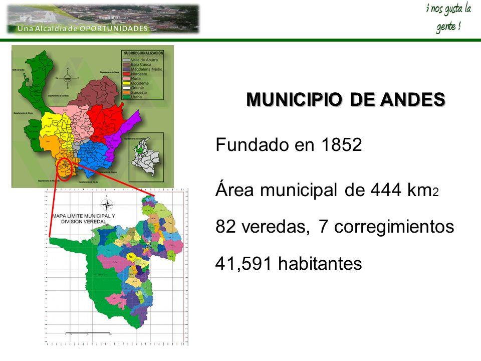 MUNICIPIO DE ANDES Fundado en 1852. Área municipal de 444 km2.