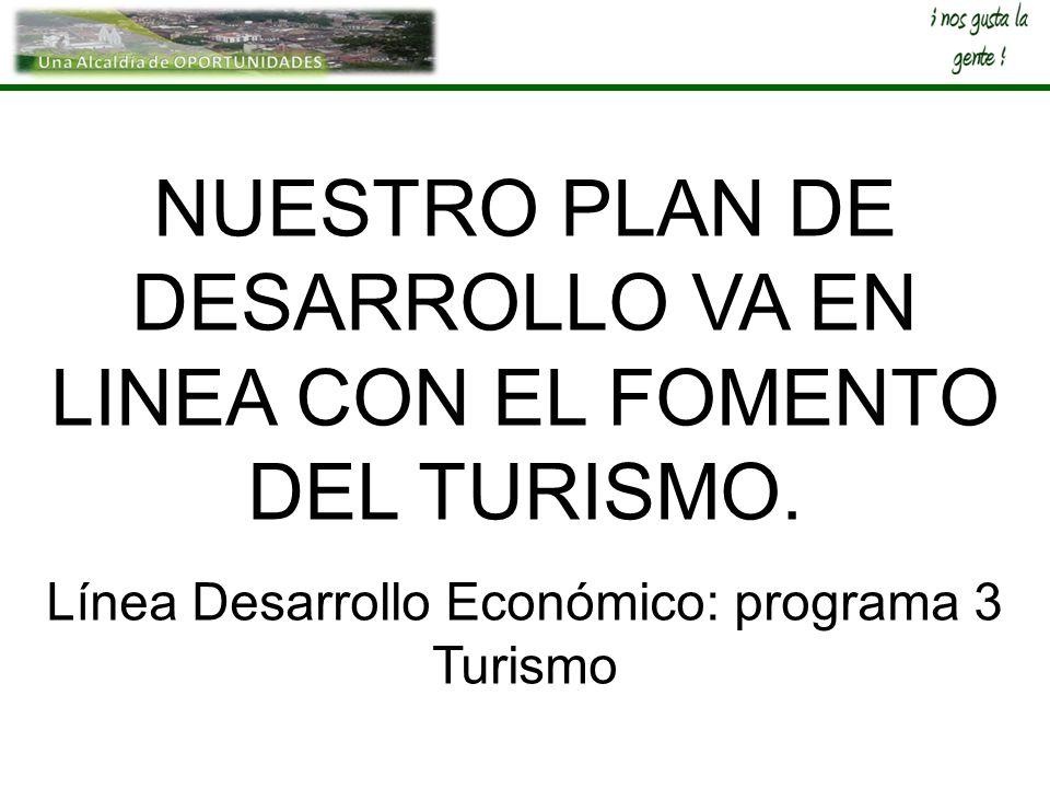 NUESTRO PLAN DE DESARROLLO VA EN LINEA CON EL FOMENTO DEL TURISMO.