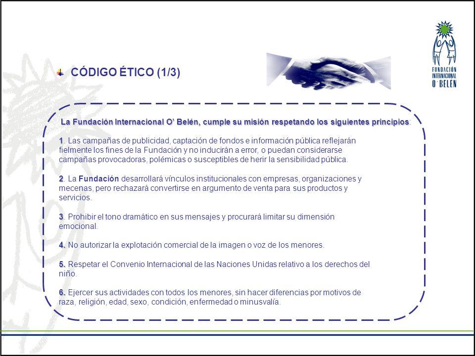 CÓDIGO ÉTICO (1/3) La Fundación Internacional O' Belén, cumple su misión respetando los siguientes principios: