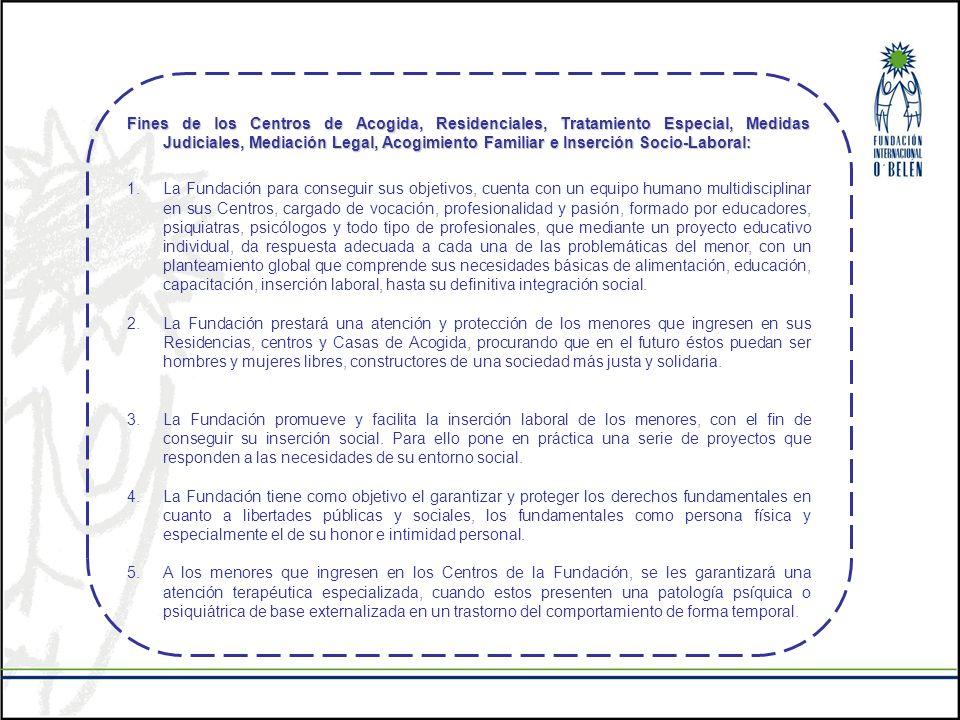 Fines de los Centros de Acogida, Residenciales, Tratamiento Especial, Medidas Judiciales, Mediación Legal, Acogimiento Familiar e Inserción Socio-Laboral: