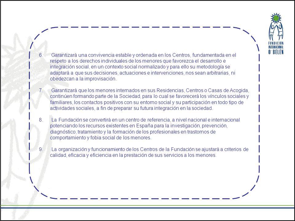 Garantizará una convivencia estable y ordenada en los Centros, fundamentada en el respeto a los derechos individuales de los menores que favorezca el desarrollo e integración social, en un contexto social normalizado y para ello su metodología se adaptará a que sus decisiones, actuaciones e intervenciones, nos sean arbitrarias, ni obedezcan a la improvisación.
