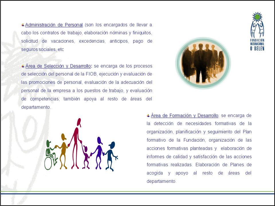 Administración de Personal (son los encargados de llevar a cabo los contratos de trabajo, elaboración nóminas y finiquitos, solicitud de vacaciones, excedencias, anticipos, pago de seguros sociales, etc