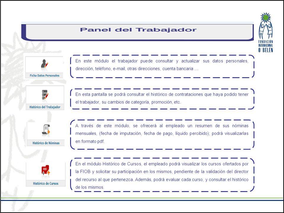 En este módulo el trabajador puede consultar y actualizar sus datos personales, dirección, teléfono, e-mail, otras direcciones, cuenta bancaria …