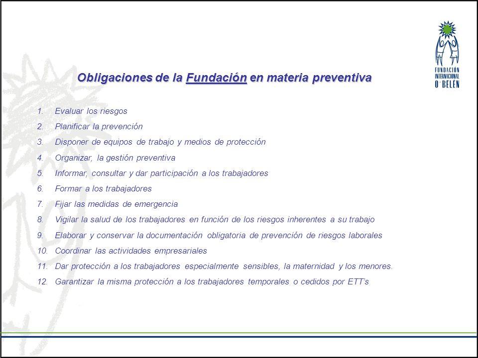 Obligaciones de la Fundación en materia preventiva