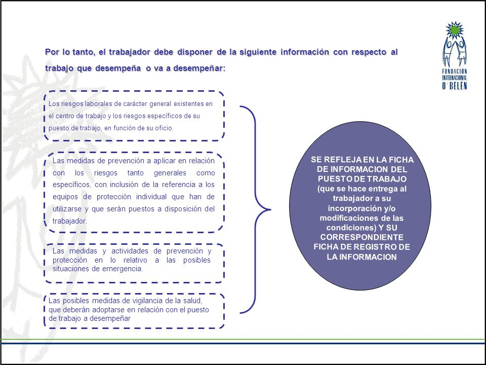 Por lo tanto, el trabajador debe disponer de la siguiente información con respecto al trabajo que desempeña o va a desempeñar: