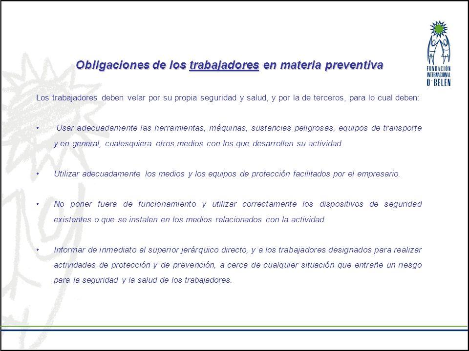 Obligaciones de los trabajadores en materia preventiva