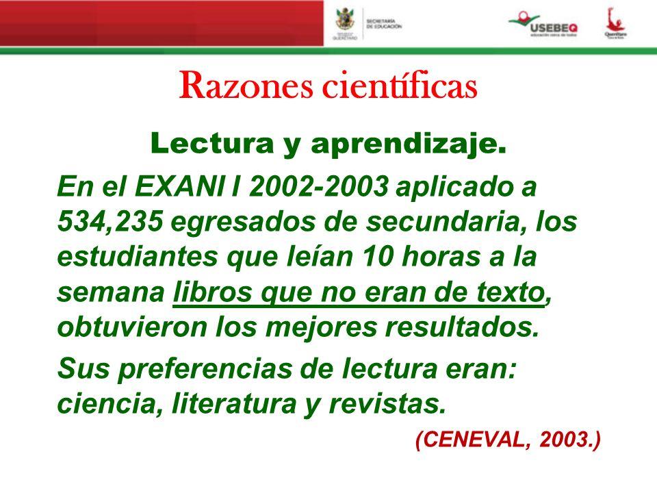Razones científicas Lectura y aprendizaje.