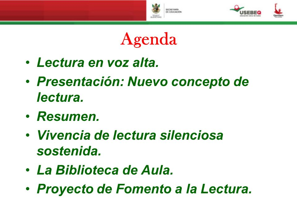 Agenda Lectura en voz alta. Presentación: Nuevo concepto de lectura.