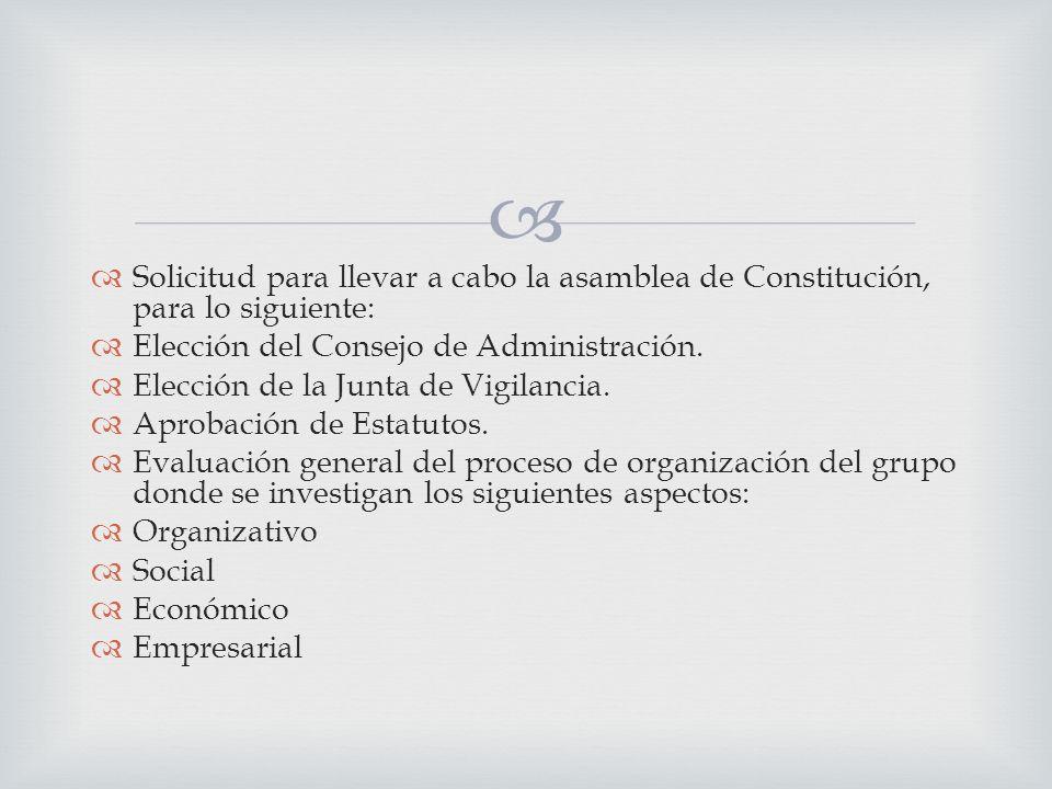 Solicitud para llevar a cabo la asamblea de Constitución, para lo siguiente: