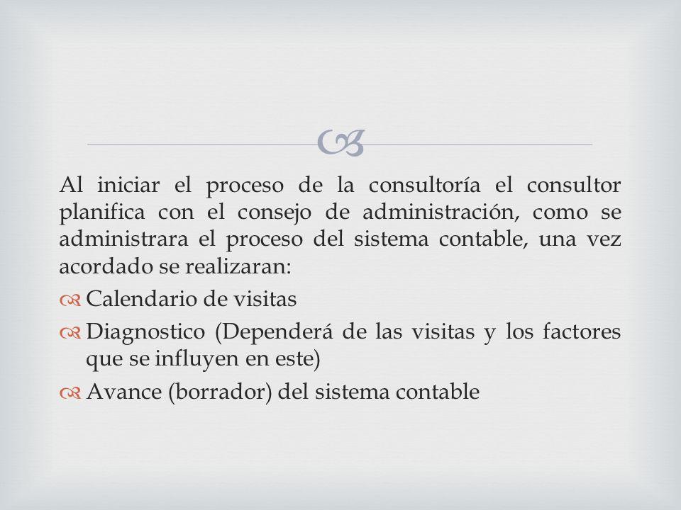 Al iniciar el proceso de la consultoría el consultor planifica con el consejo de administración, como se administrara el proceso del sistema contable, una vez acordado se realizaran: