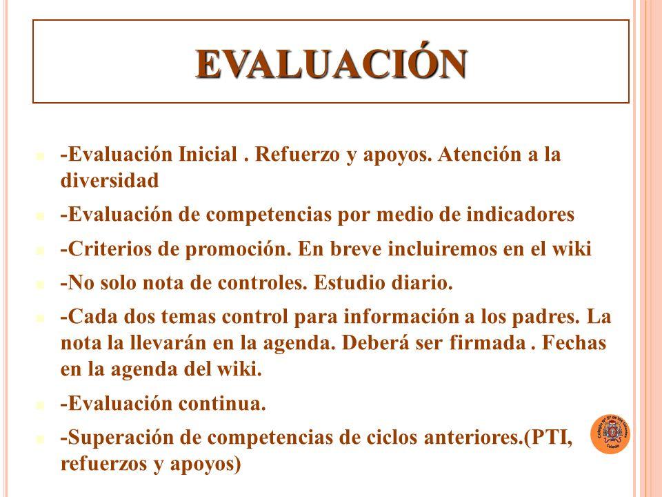 EVALUACIÓN -Evaluación Inicial . Refuerzo y apoyos. Atención a la diversidad. -Evaluación de competencias por medio de indicadores.