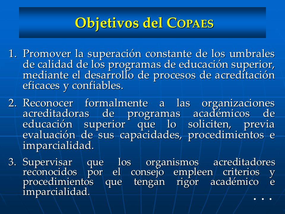 Objetivos del COPAES