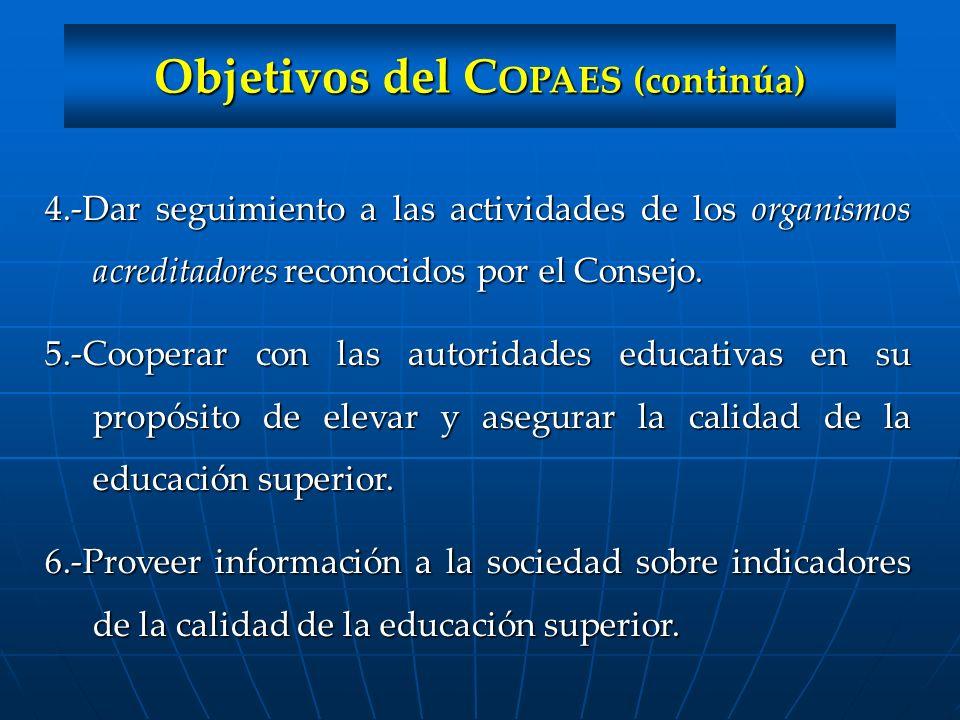 Objetivos del COPAES (continúa)