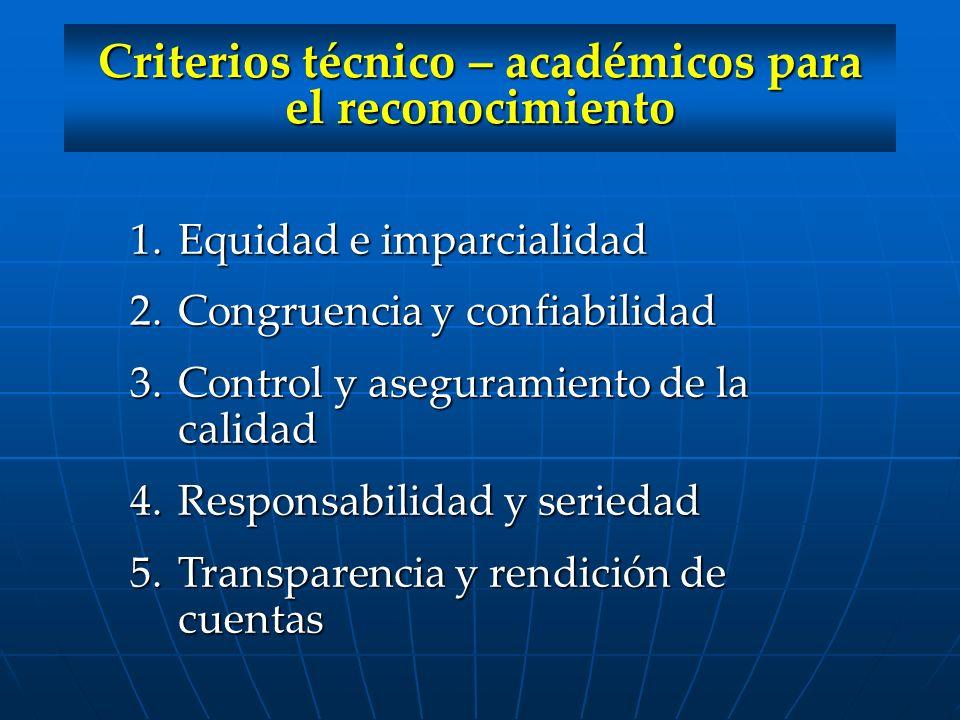 Criterios técnico – académicos para el reconocimiento