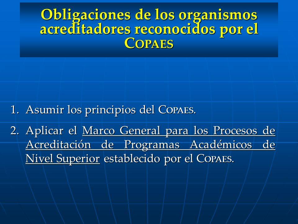 Obligaciones de los organismos acreditadores reconocidos por el COPAES