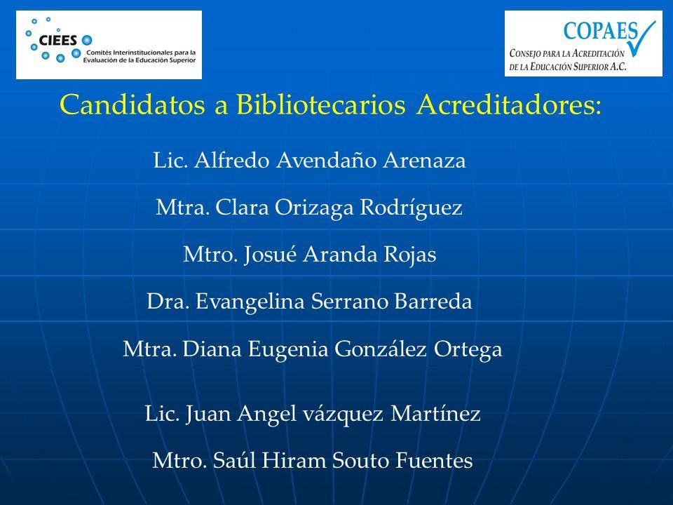 Candidatos a Bibliotecarios Acreditadores: