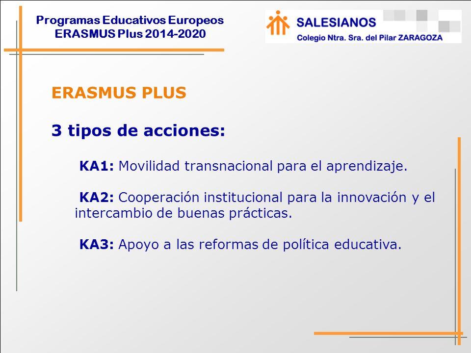 ERASMUS PLUS 3 tipos de acciones: