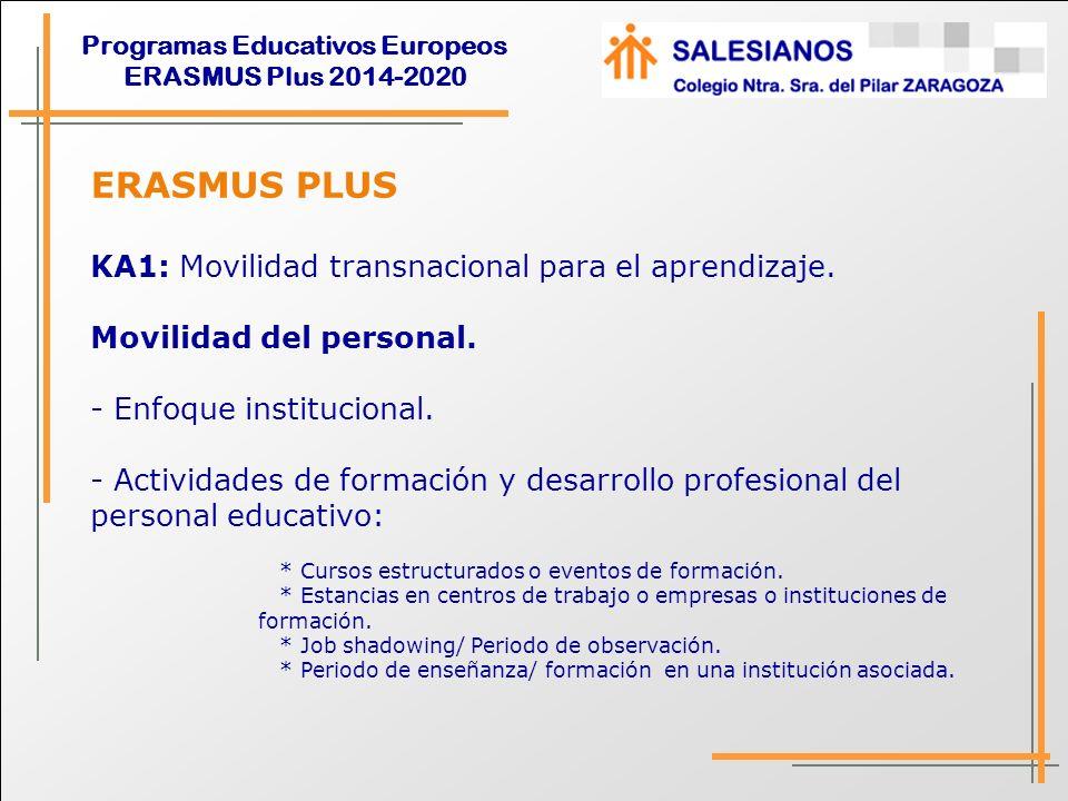 ERASMUS PLUS KA1: Movilidad transnacional para el aprendizaje.