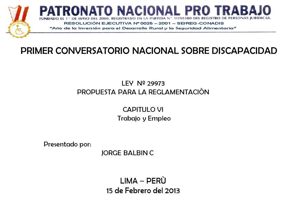 PRIMER CONVERSATORIO NACIONAL SOBRE DISCAPACIDAD