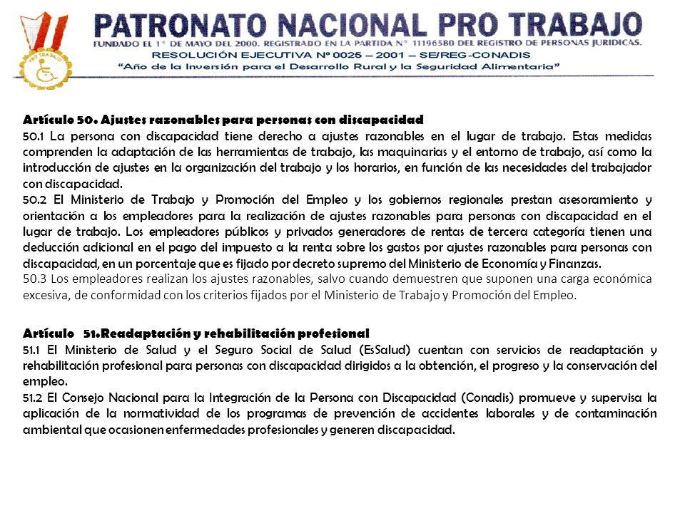 Artículo 50. Ajustes razonables para personas con discapacidad
