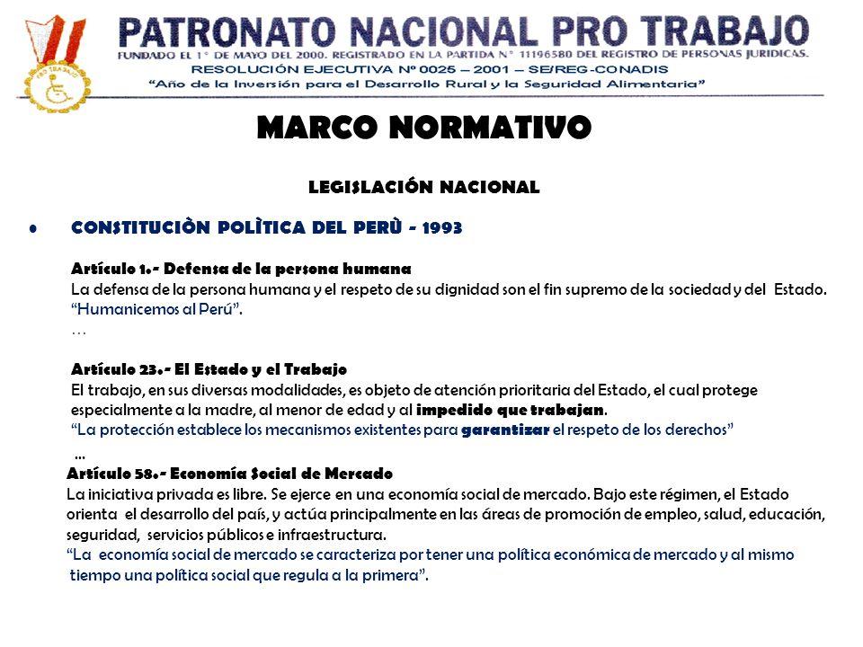 MARCO NORMATIVO LEGISLACIÓN NACIONAL
