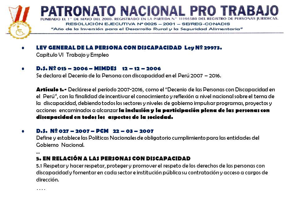 …. LEY GENERAL DE LA PERSONA CON DISCAPACIDAD Ley Nº 29973.