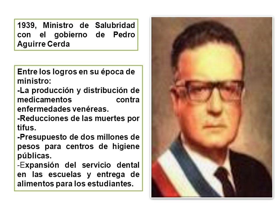 1939, Ministro de Salubridad con el gobierno de Pedro Aguirre Cerda
