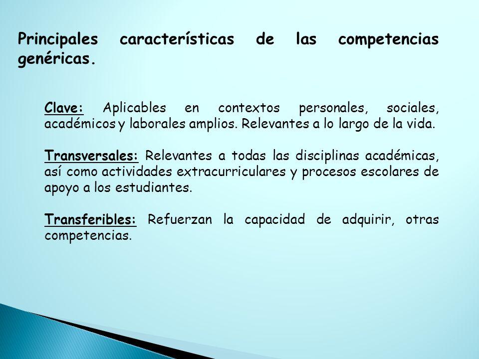 Principales características de las competencias genéricas.