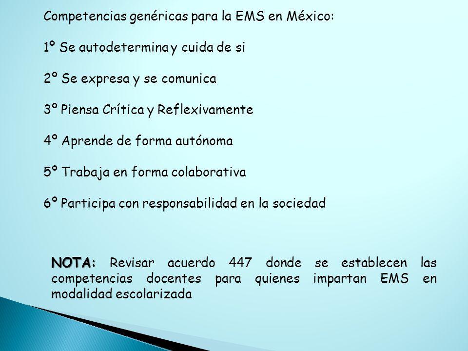 Competencias genéricas para la EMS en México: