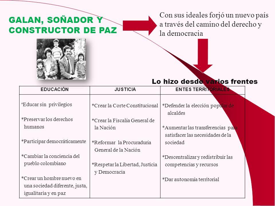 GALAN, SOÑADOR Y CONSTRUCTOR DE PAZ