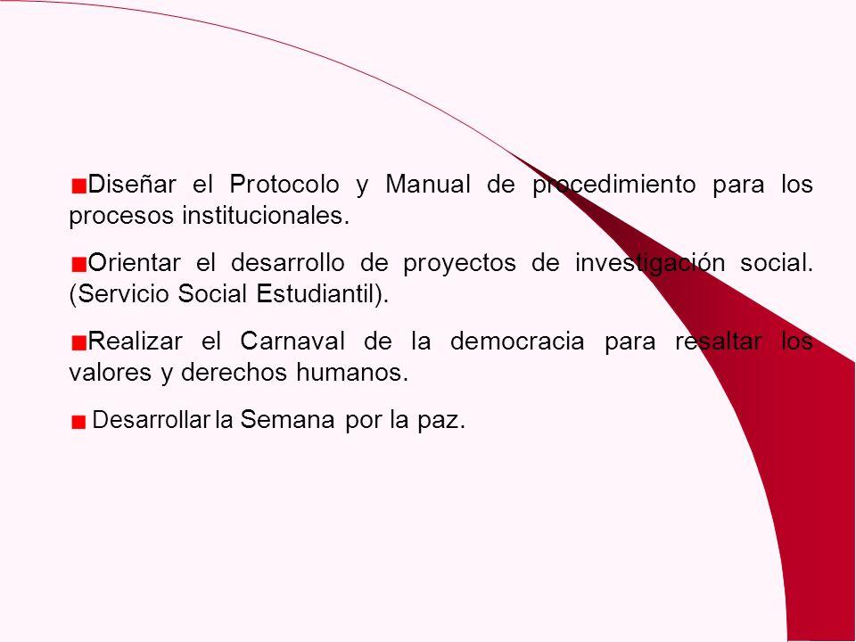 Diseñar el Protocolo y Manual de procedimiento para los procesos institucionales.