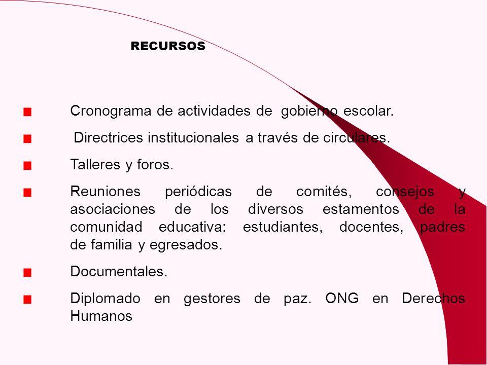 Cronograma de actividades de gobierno escolar.