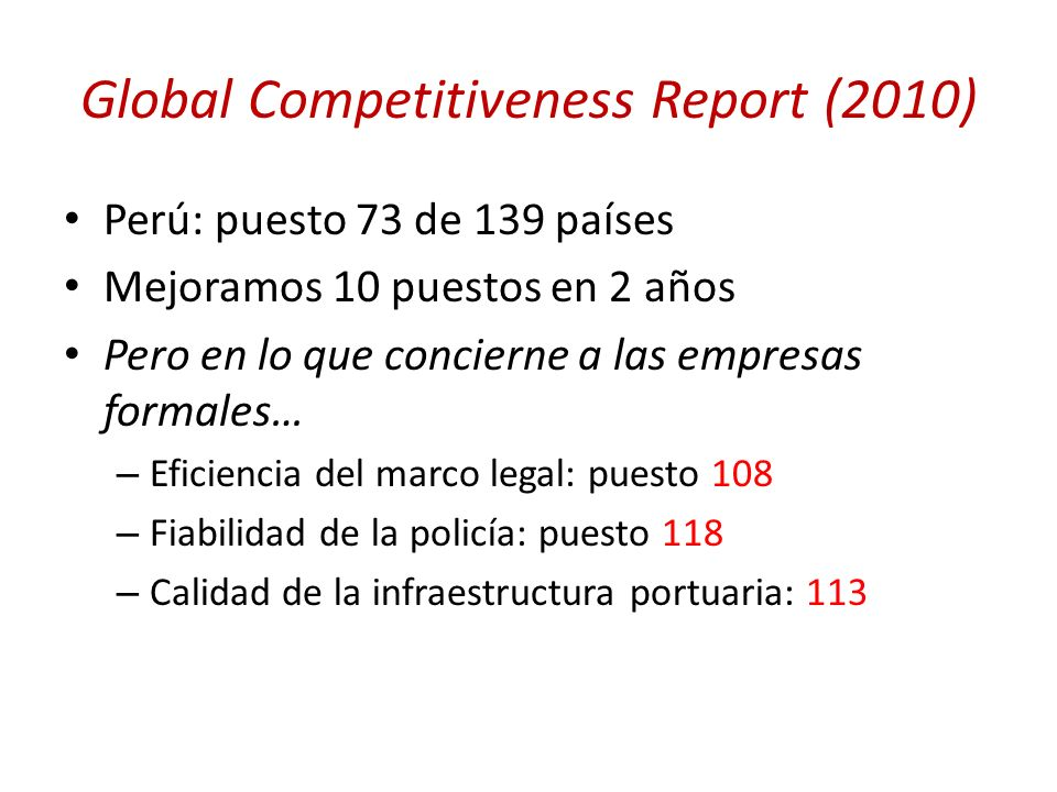 Global Competitiveness Report (2010)
