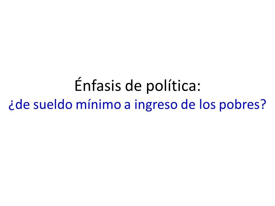 Énfasis de política: ¿de sueldo mínimo a ingreso de los pobres