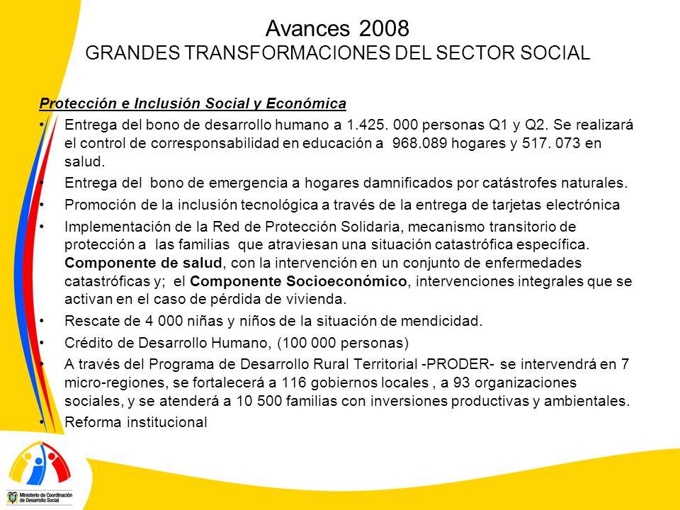 Avances 2008 GRANDES TRANSFORMACIONES DEL SECTOR SOCIAL
