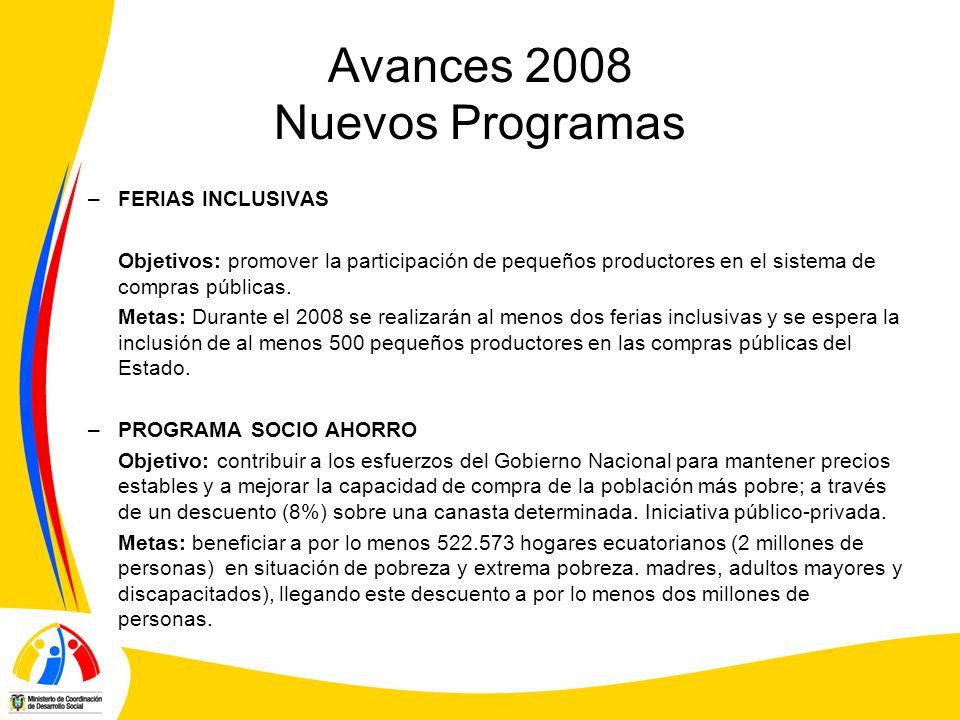Avances 2008 Nuevos Programas